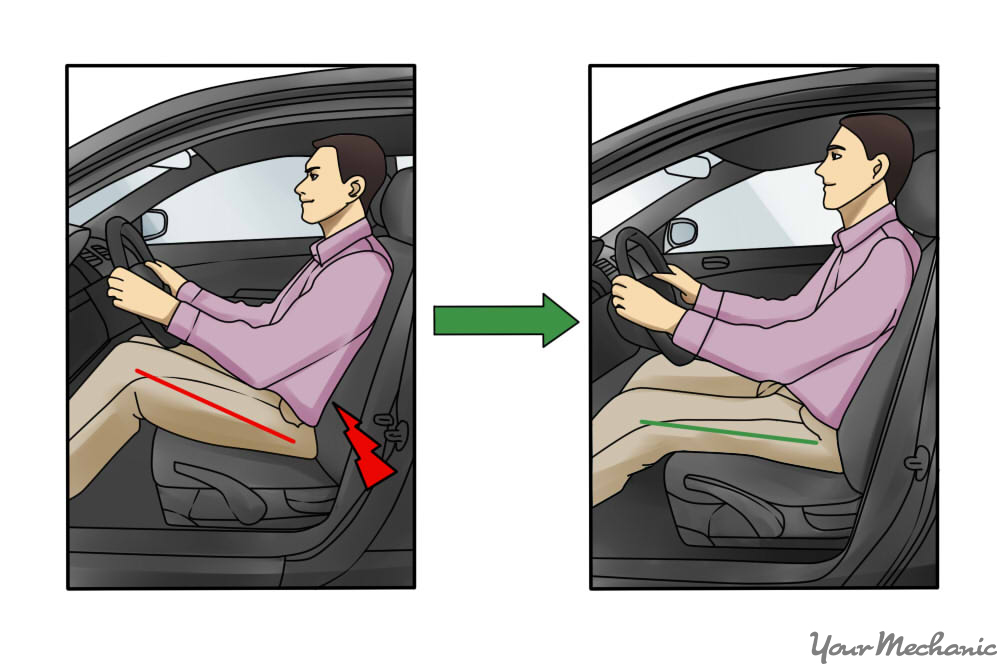 9 - How to Sit in a Car Without Back Pain - diagram comparing man ...